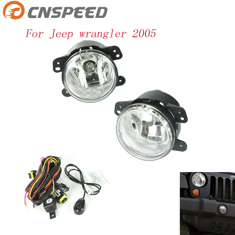 CNSPEED Fog light for Jeep wrangler 2005 fog lamps Clear Lens Bumper Fog Lights Driving Lamps Daytime Running light for opel astra h gtc 2005 15 h11 wiring harness sockets wire connector switch 2 fog lights drl front bumper 5d lens led lamp