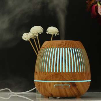 Mini Lampes à Huile | Meilleure Vente 400Ml Aromathérapie Huile Essentielle Diffuseur Bois Grain Hallow 7 Couleur Lumière Arôme Lampe Humidificateur Maison (prise Ue)