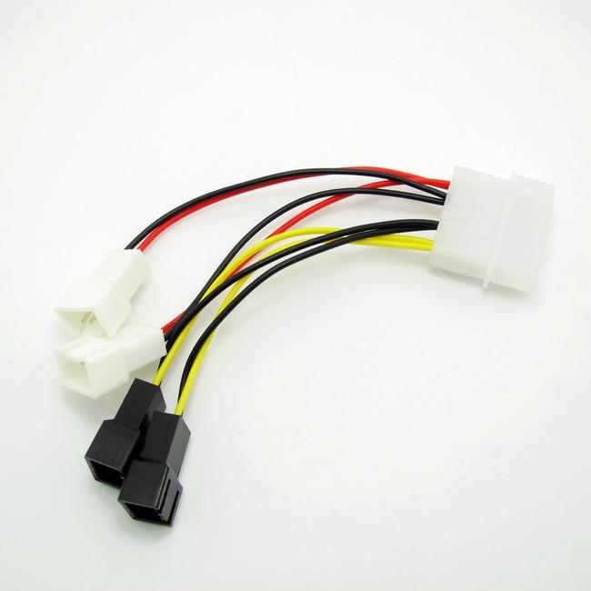 Quad – 3 Pin Fans to 4 Pin Molex Power Adapter IDE – 12v fan x 2 + 5v fan x 2