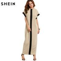 SheIn Women Loose Long Dresses Summer Dresses Casual Color Block Pocket Round Neck Short Sleeve Shift