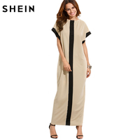 SheIn Women Loose Long Dresses Summer Dresses Casual Color Block Pocket Round Neck Short Sleeve Shift