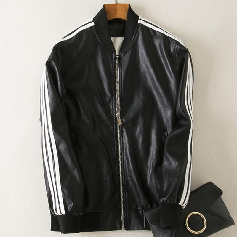 Casual Women Mens Motorcycle   Leather   Jackets Overcoat Spring Couple Uniform Coat Lover Girl Baseball PU Coat 3XL Streetwear B445