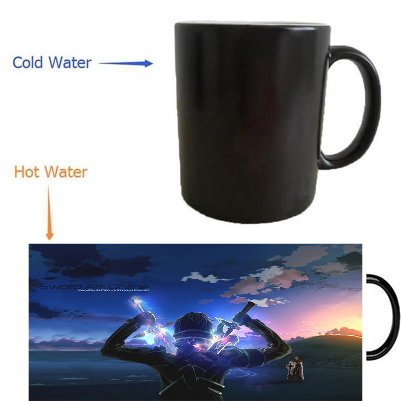 sword art online mugs heat reveal coffee mugs cold hot sensitive whisky art porcelain tea