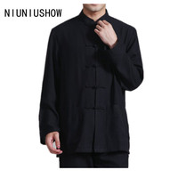 Free Shipping Black Spring Vintage Chinese Men's Linen Jacket Coat with Pocket Size S M L XL XXL XXXL 2352-1