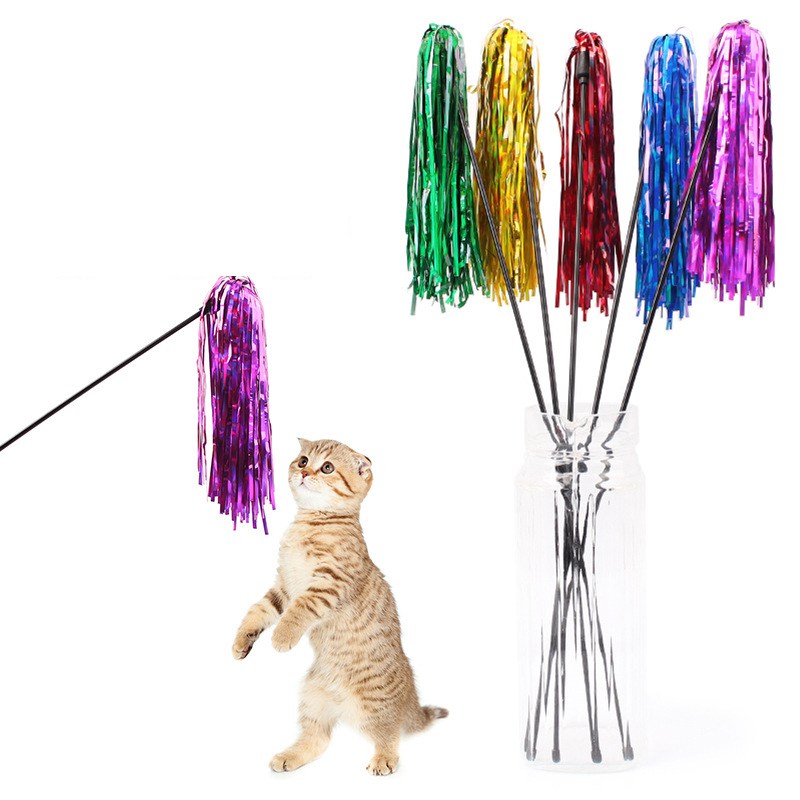 5pcs/lot Pet Cat Toy Colorful Ribbon With Wand 50 cm Long Plastic Stick Toys Playing Training Supplies For Cats