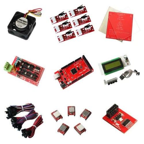 Reprap RAMPS1.4 pour kits de démarrage arduino Mega R3, 5xA4988 pilote pas à pas, contrôleur intelligent LCD2004, module de butée finale heatbed MK2a