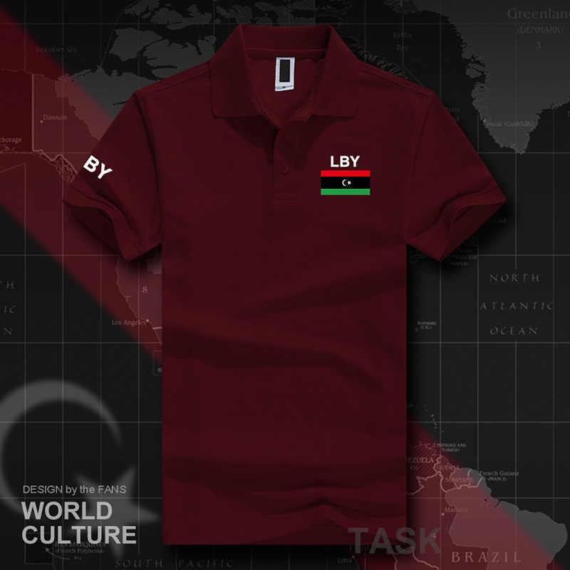 Camisetas De polo de manga corta para hombre marcas blancas impresas para país 2017 bandera del equipo de la nación de algodón nuevo LBY libio árabe el Islam