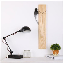 Modern Wood Wall Clock With A Bird