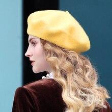 Alta Qualidade 100% Pura Lã Boina Moda Feminina Estilo Britânico Cor Sólida Cap  Menina Sentiu Chapéus de Inverno Para As Mulhere. 34d3c8893f6