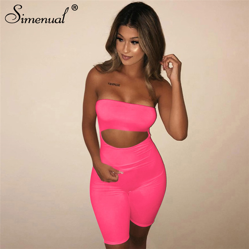 Simenual Off Shoulder Cut Out Playsuits Women Wrapped Chest Push Up Biker Shorts Rompers Neon Color Backless Fitness Jumpsuits
