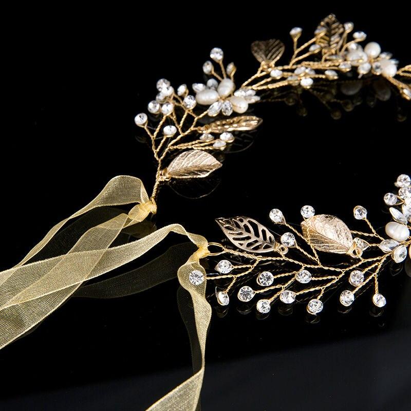 HairBand Leaf Crystal Beads Rhinestone (4)