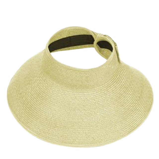 1a0f7697cfb New Sale Ladies Women Summer Sun Beach Folding Roll Up Wide Brim Straw  Visor Hat Cap 6 colors 2016 Fashion