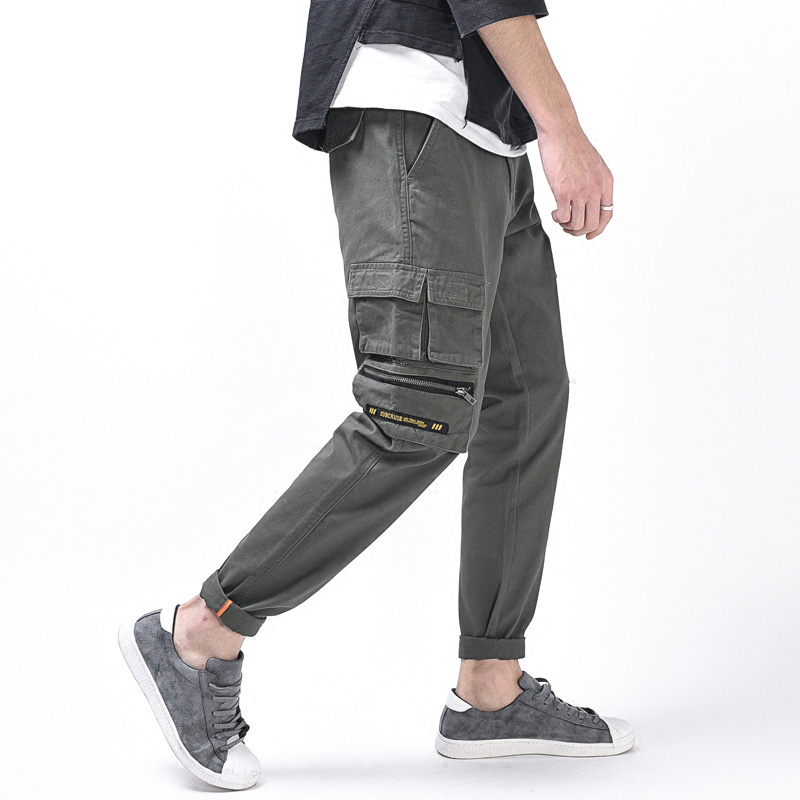Multi Pockets Army Green Fashion Mens Jeans Casual Pants Loose Fit Cargo Pants Youth Streetwear Hip Hop Jeans Men Punk Pants