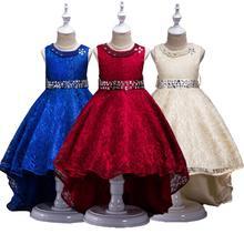 Розничная продажа, элегантные кружевные детские костюмы, платье принцессы с кристаллами, вечерние платья с длинным шлейфом для девочек, L493
