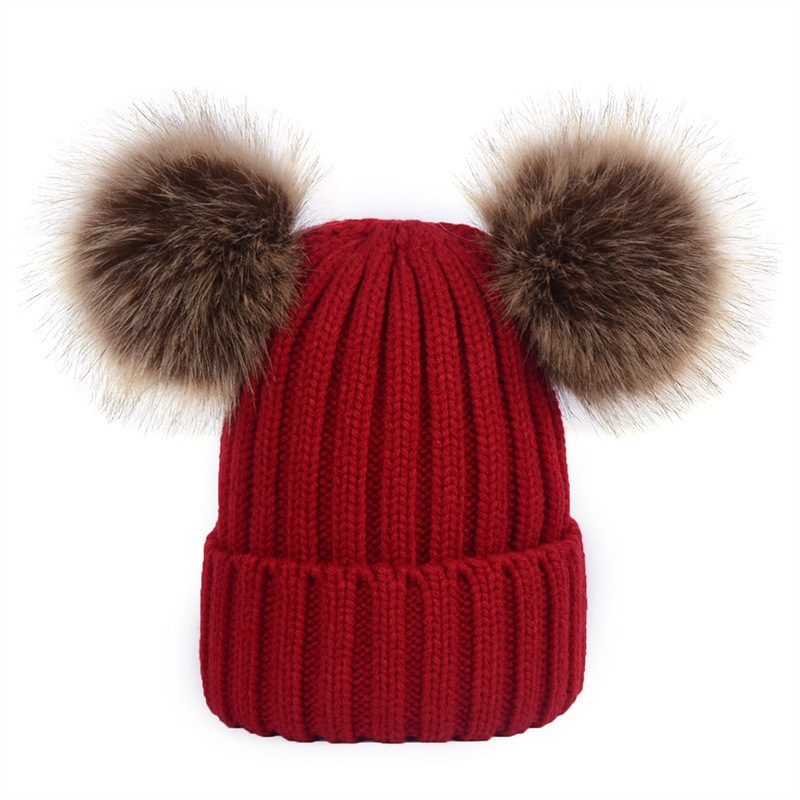 Ladies Double Pompom Beanie Caps Women 's Winter Hats Girl Knitted Imitation Fur Hat Skullies Women Warm Beanies Cap Gorros andybeatty fur pompom skullies caps ladies knit winter hats for women beanies autumn winter beanie fur hat knitted wool cap