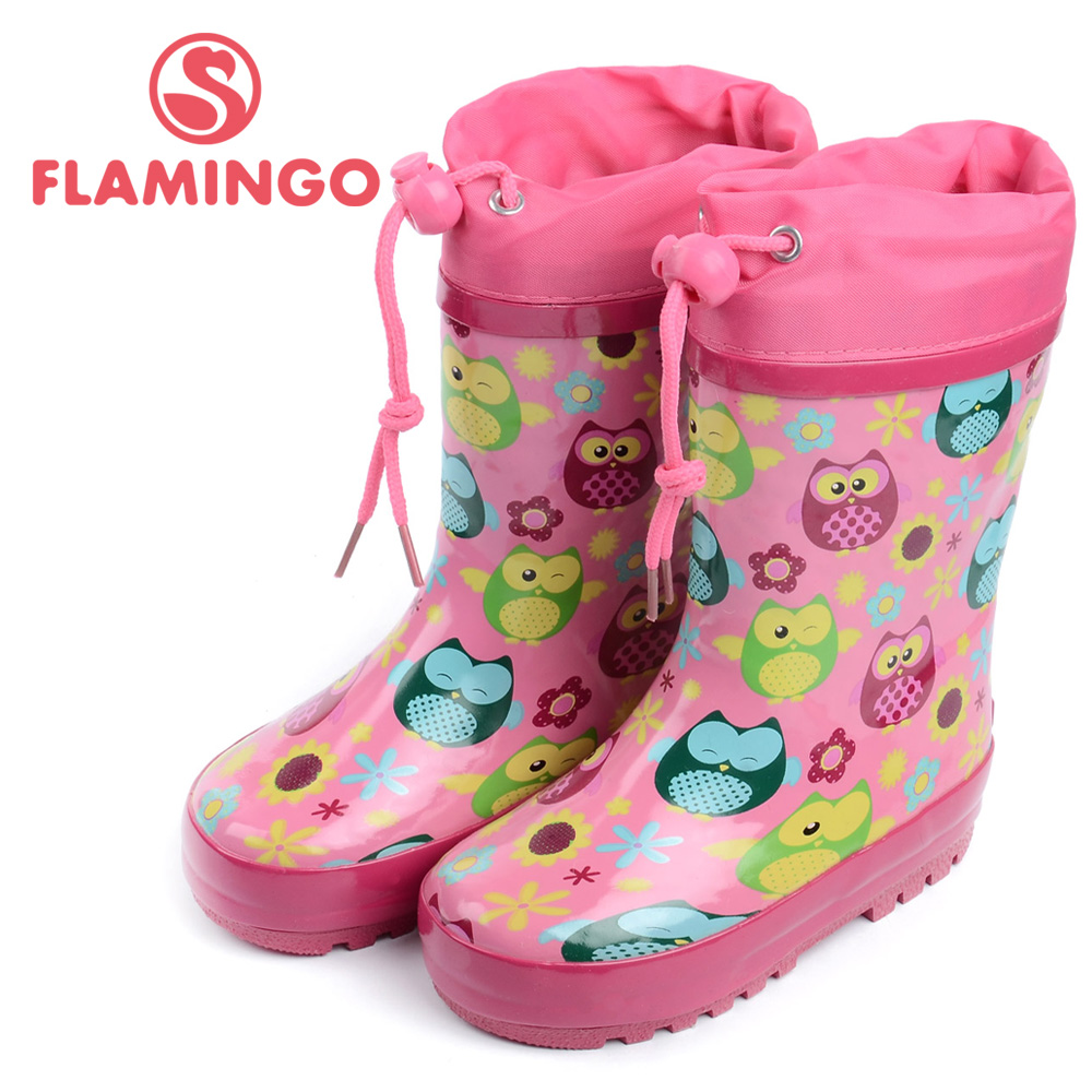 FLAMINGO famous brand 2017 new collection spring-autumn fashion gumboots with wool quality anti-slip kids shoes for girls W5525 ...
