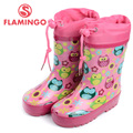 FLAMINGO famous brand 2017 new collection spring-autumn fashion gumboots with wool quality anti-slip kids shoes for girls W5525