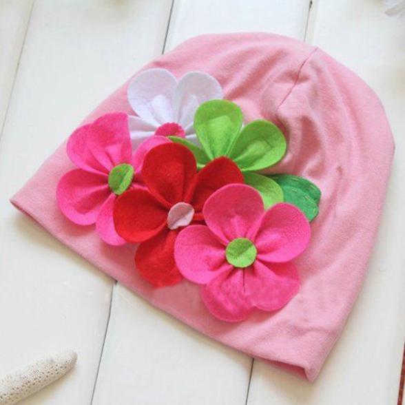 Baby Girls Cap Hats Winter Warm Beanie Earflap Hat 3D Flower Headdress New Sale H7