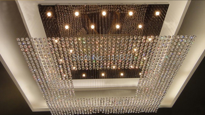 New Square Modern String Crystal Chandelier Hotel Lobby Lighting Free Shipping In Chandeliers From Lights On Aliexpress