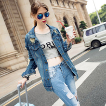 Autumn Winter Women Denim Jackets Ripped Hole Jeans Coats Vintage Outwear Female Spring Jean And