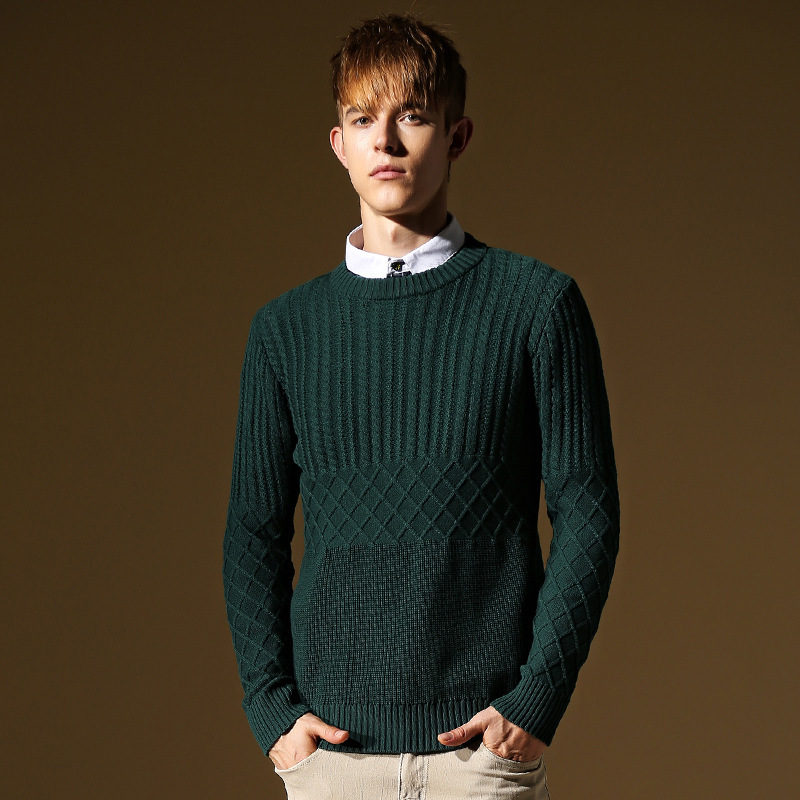 Argyle Sweater Men Patchwork Pullover Casual Mens Green