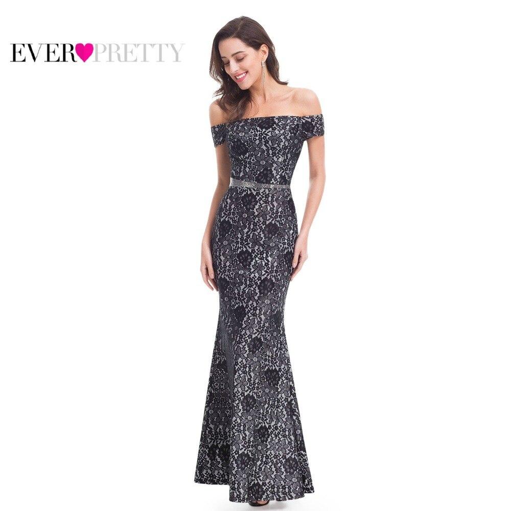Вечернее с вырезом «Лодочка» платья Ever Pretty EP07045BK Новинка 2019, высококачественное кружевное черное элегантное строгое длинное вечернее плать...