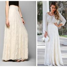 2019 Vintage Ladies Floral Lace Women Long Skirt Muslim High Waist Pleated Print Boho Longa Saia long lace skirts for women