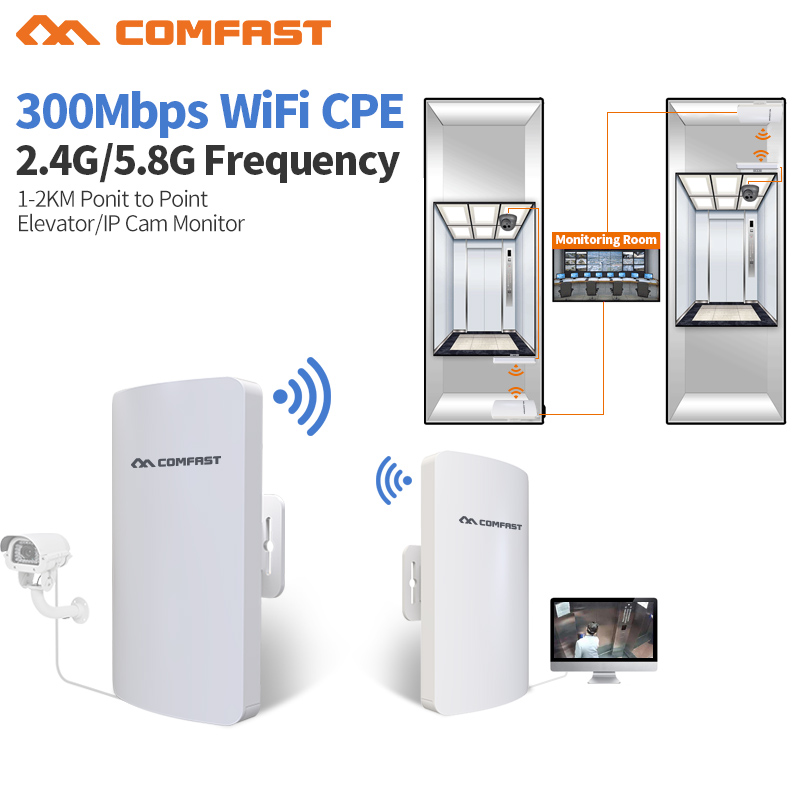 3KM 2.4/5.8 Ghz Outdoor CPE Router Point-to-Point Wireless CPE Bridge 300Mbps Router Wifi Repeater WDS Wireless AP For IP Camera 2pcs high power wireless bridge cpe 2 3km comfast 300mbps 2 4ghz outdoor wifi access point ap router wifi repeater for ip camera
