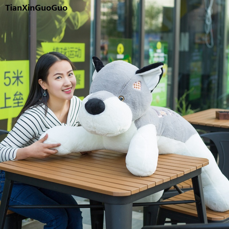 цена на stuffed toy cute prone dog large 90cm gray husky love dog plush toy soft doll throw pillow birthday gift s0212