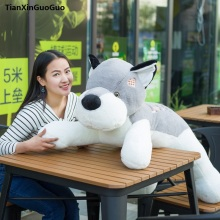 stuffed toy cute prone dog large 90cm gray husky love dog plush toy soft doll throw pillow birthday gift s0212