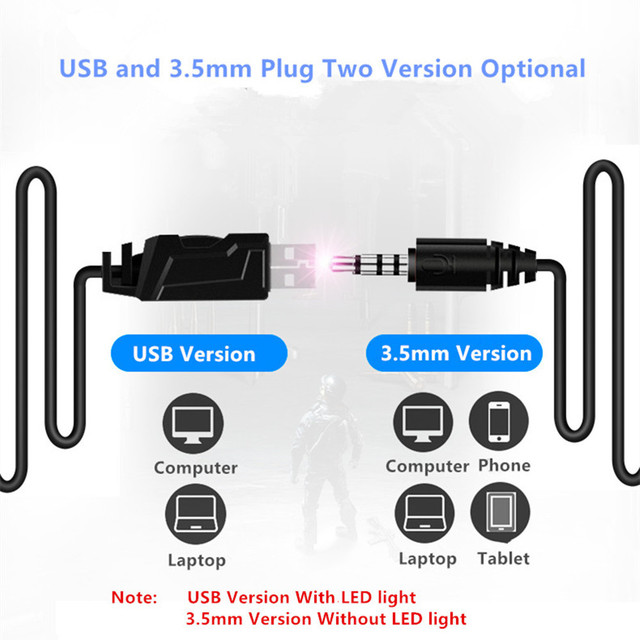 for PS4 Phone N2U USB gaming Headphone with LED for Computer Gaming headset PC Gamer Bass  with Mic
