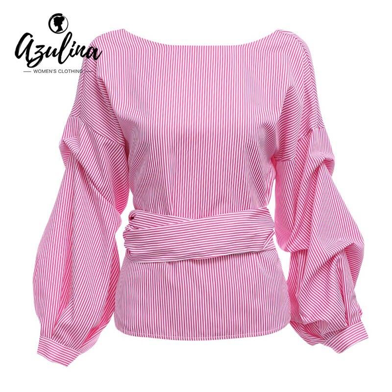 AZULINA pink casual blusa a rayas camisa de las mujeres atractivas del verano si