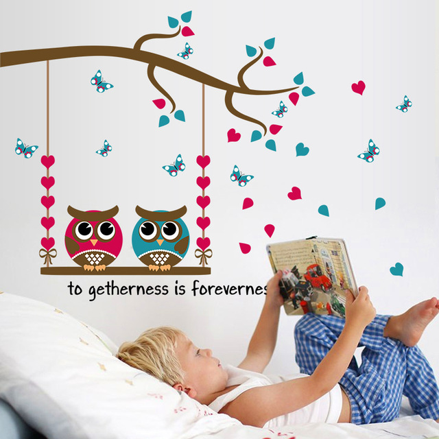 owl decor for living room owls swing wall stickers blue pink wallpaper 21232