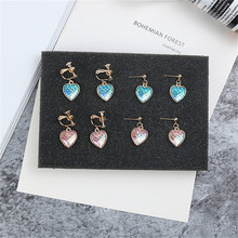 Korean Cute Creative Colorful Fish Scale Heart Fresh Sweet Woman Girls Clips Earrings Fashion Jewelry-LAF