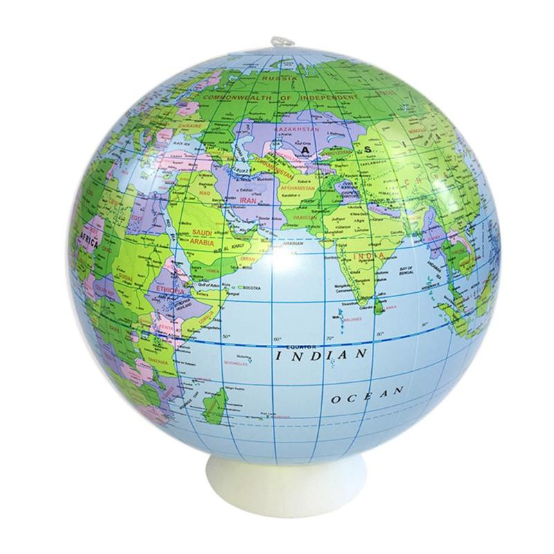40cm  Environmental Protection 6PPVC Inflatable World Globe Teach Education Geography Toy Map Balloon Beach Ball