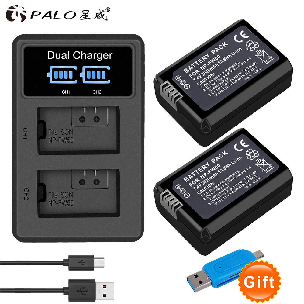2 piezas 2000 mAh NP-FW50 NP FW50 batería Cámara + LCD USB cargador Dual para Sony Alpha a6500 a6300 a7 7R a7R a7R II a7II NEX-3 NEX-3N