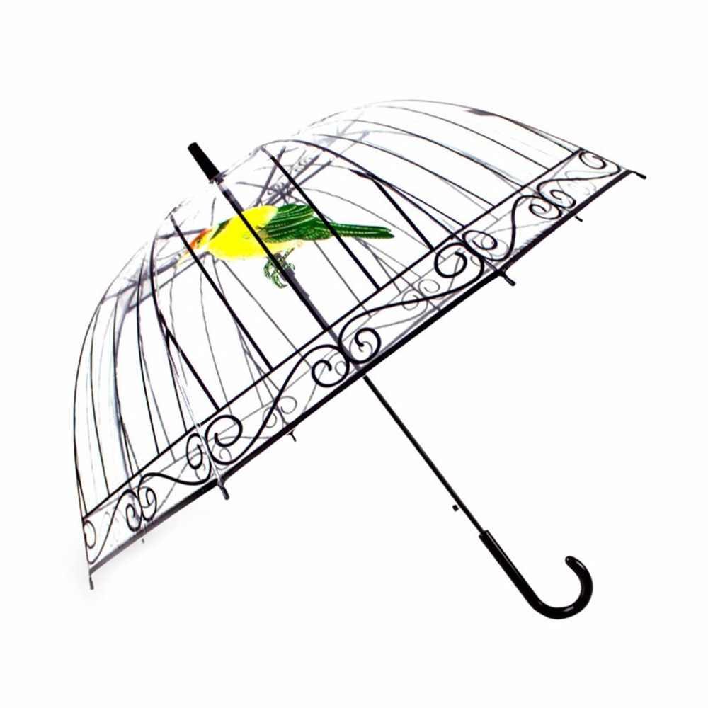 34be3ca9c ... New Men Women Transparent Umbrella Creative Umbrella Long-handle Apollo  Bird In The Cage Plastic ...