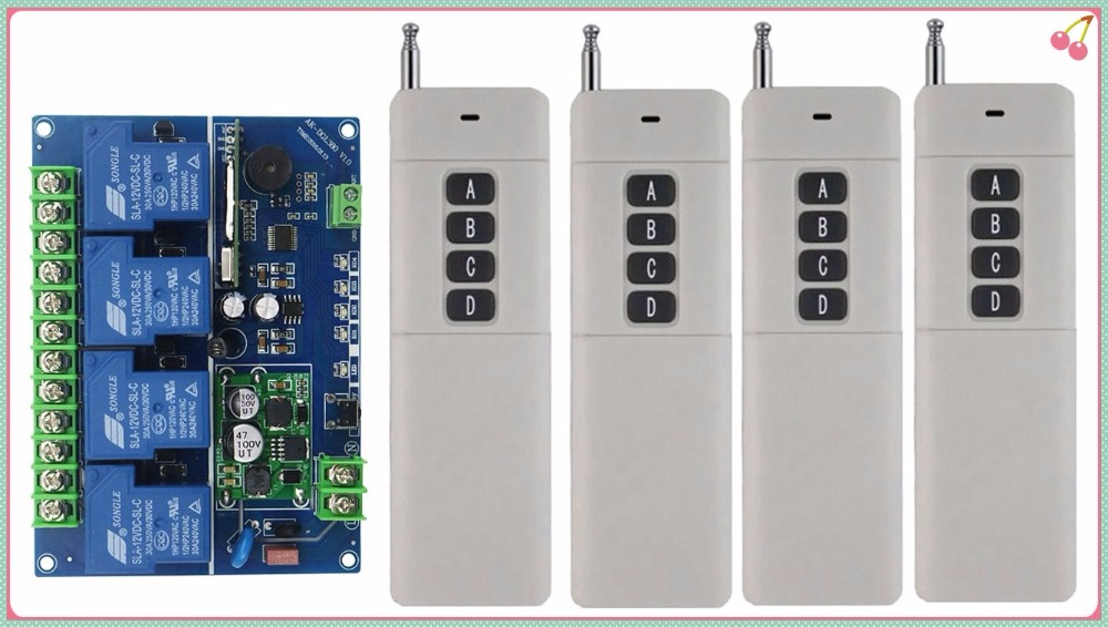 DC12V 24-48V 4CH 30A RF Wireless Remote Control Relay Switch light window/Garage Doors shutters projection screen 4*Remote century aoke motor garage door projection screen shutters dc12v rf wireless remote control switch