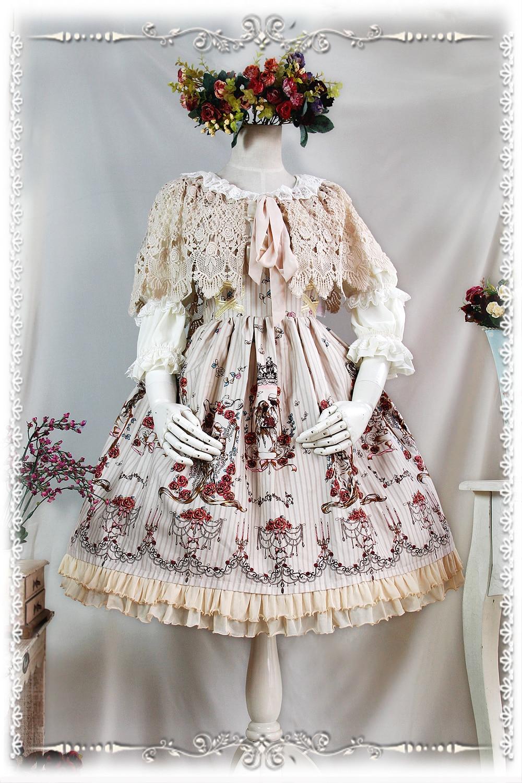 2016 Lolita Original imprimé Floral coton doux Lolita robe victorienne Tangeld JSK robe de soirée bleu/rouge/Beige - 4