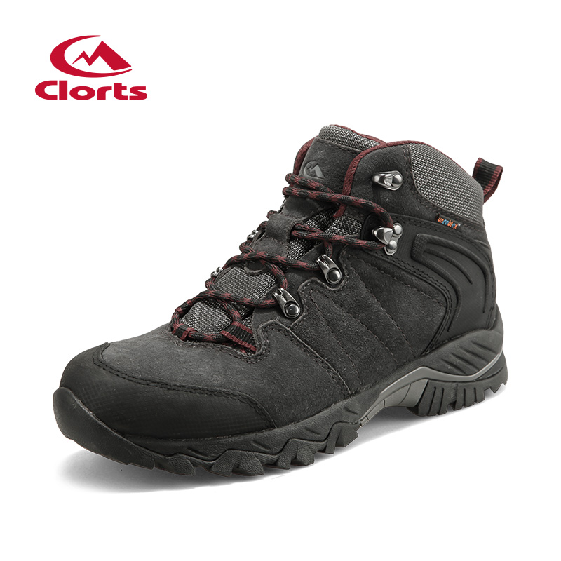 2018 Clorts Mens Hiking Boots Waterproof Breathable Outdoor Sport Shoes Grey Brown Suede Leather For Male Free Shipping HKM-822A mens women golf shoes genuine leather shoes british style waterproof breathable free shipping
