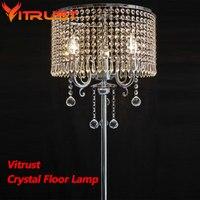 거실 용 럭셔리 k9 크리스탈 플로어 램프 현대 플로어 스탠딩 램프 lamparas de pie 산업용 삼각대 램프