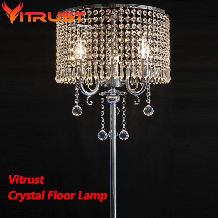 US $194.24 32% OFF|Luxury k9 crystal floor lamps for living room modern  floor standing lamp lamparas de pie industrial tripod lamp-in Floor Lamps  from ...