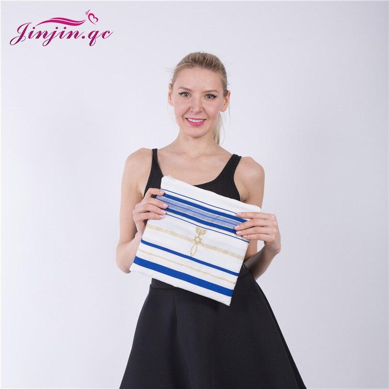 Jinjin.QC 72x22 (Approx) Messianic Jewish Tallit Blue and Gold Prayer Shawl Talit and Talis Bag Prayer scarves and Shawls
