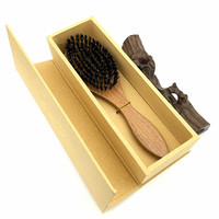 NEW Real Wild Boar Bristles Hair Combs Brush Sandalwood Brosse Cheveux Sanglier Pinceis El Peine Hair Care Pente G0316