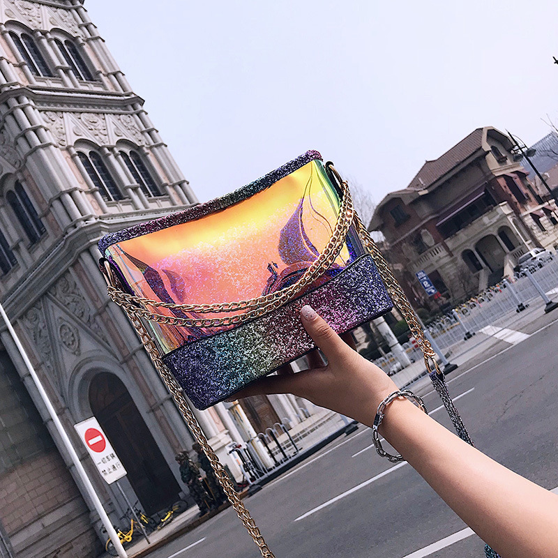 NEW BAG WOMEN 2018 SPRING NEW TIDE SEQUIN PORTABLE SHOULDER BAG KOREAN VERSION OF JOKER MESSENGER BAG BUCKET BAG WALLET PURSE wholetide 10 marriage gauze bag bag joker bag silver rose