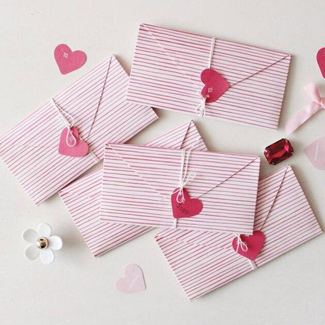 2 pcs coeur forme enveloppe D invitation De Voeux carte de message