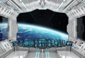 Laeacco Space Station Universe Modern Technology Photography Backgrounds Customized Photographic Backdrops For Photo Studio
