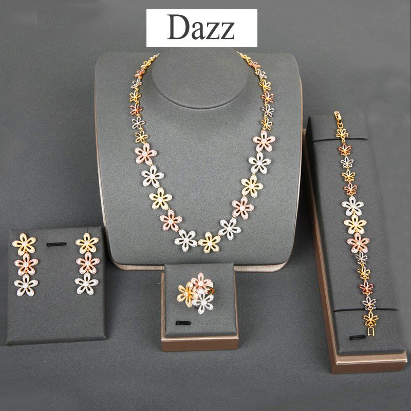 Dazz Trendy Flowers Jewelry Set African CZ Zircon Womens Wedding Party Dubai Bridal Luxury Necklace Earrings Ring Bracelet SetsDazz Trendy Flowers Jewelry Set African CZ Zircon Womens Wedding Party Dubai Bridal Luxury Necklace Earrings Ring Bracelet Sets