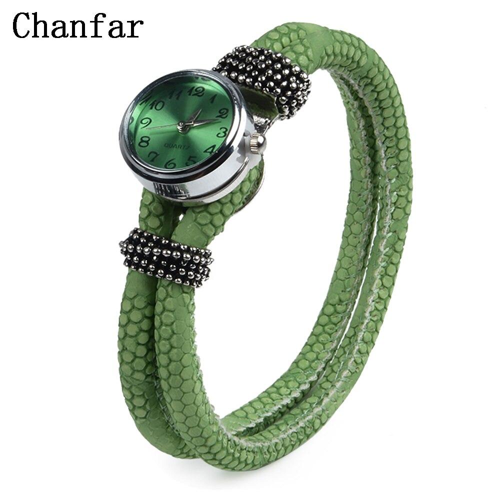 Chanfar Double Wrap Leather Bracelet Snap Button Watch Bracelet Jewelry For Women Men Fashion Gift