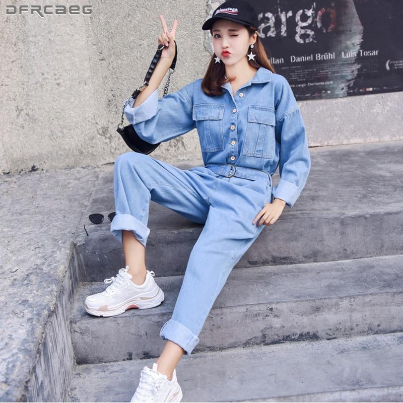 Fashion Streetwear Style Denim Overalls Women 2019 Autumn Long Sleeve Bodysuit High Waist Jeans Bodycon Romper Wide Leg Jumpsuit